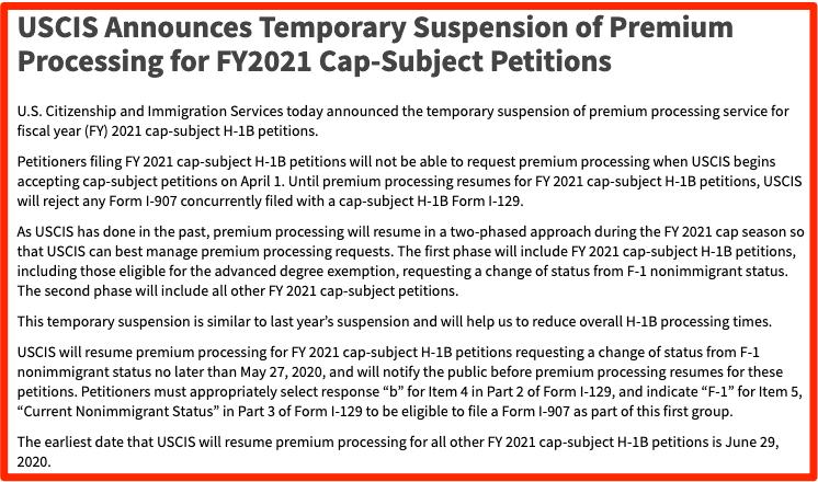 h1b visa 2021 premium processing suspended