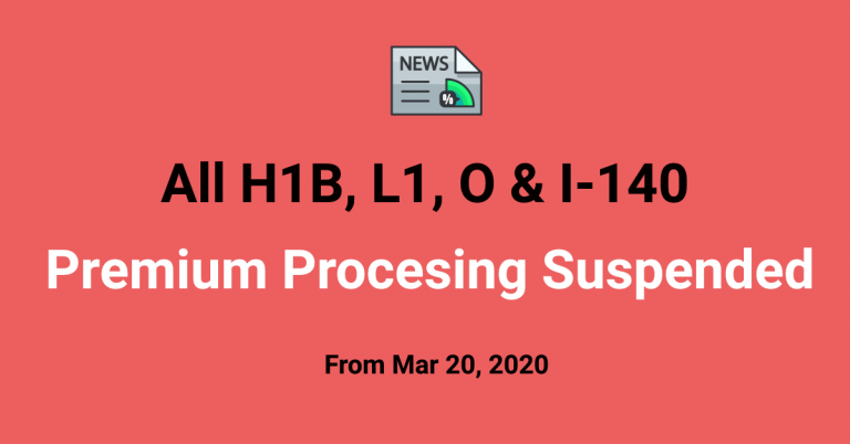 News Flash: All H1B & I-140 Premium Processing is Suspended (incl H1B 2021)