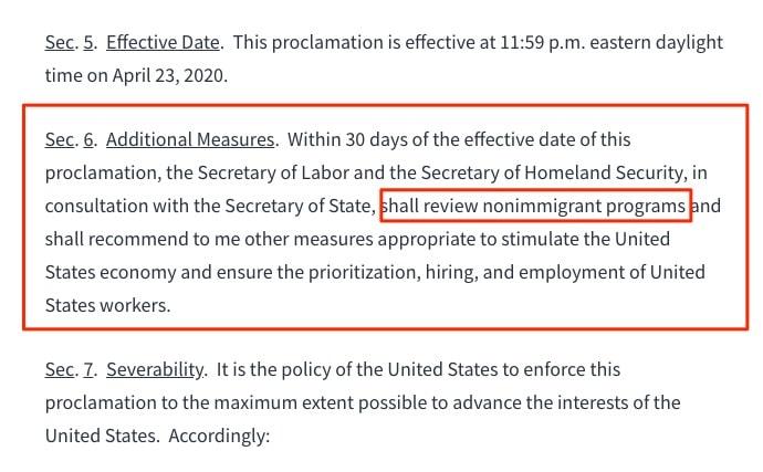 executive order h1b visa f1 visa 30 days