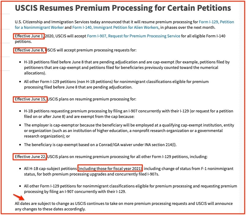 USCIS Resumes Premium Processing for Certain Petitions   2021 2020