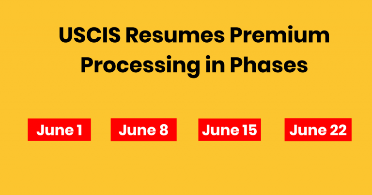 USCIS Resumes Premium Processing from June 1, 2020