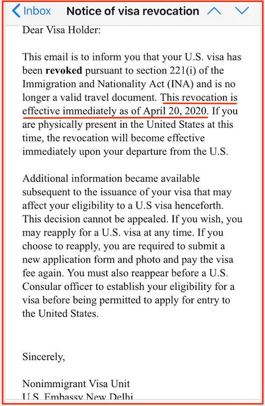 USA F1 Visa Revoked 221 USA Consulate New Delhi May 28 2020