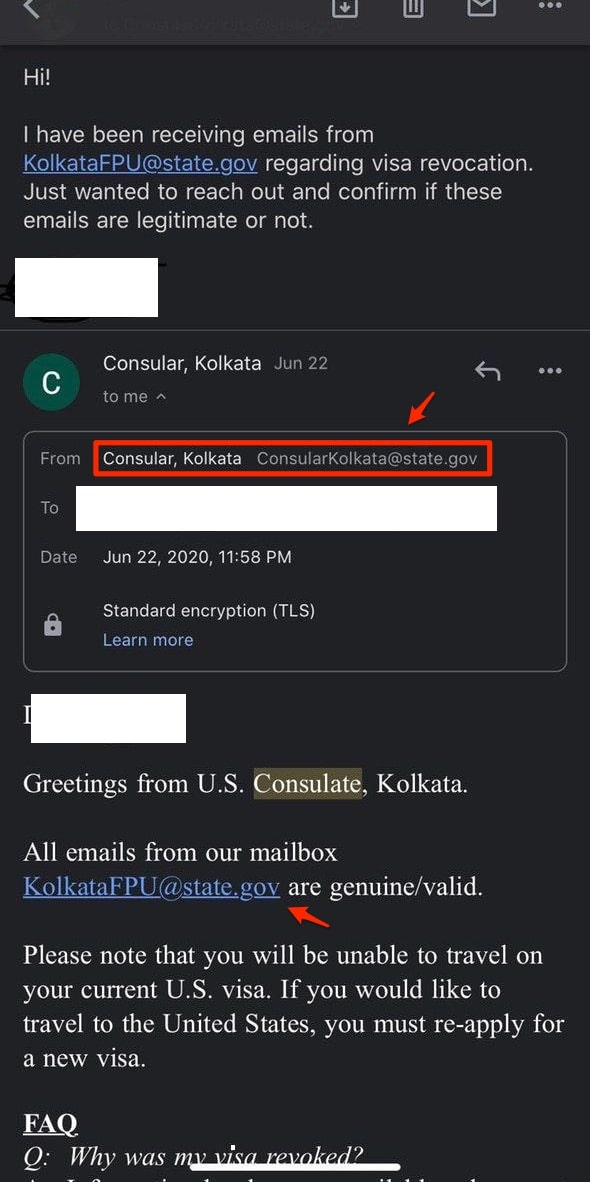 USA Visa Revoked Email Confirmation US Consulate Kolkata Confirmed reply
