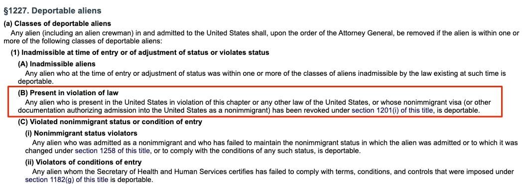 visa revoked [USC02] 8 USC 1227: Deportable aliens