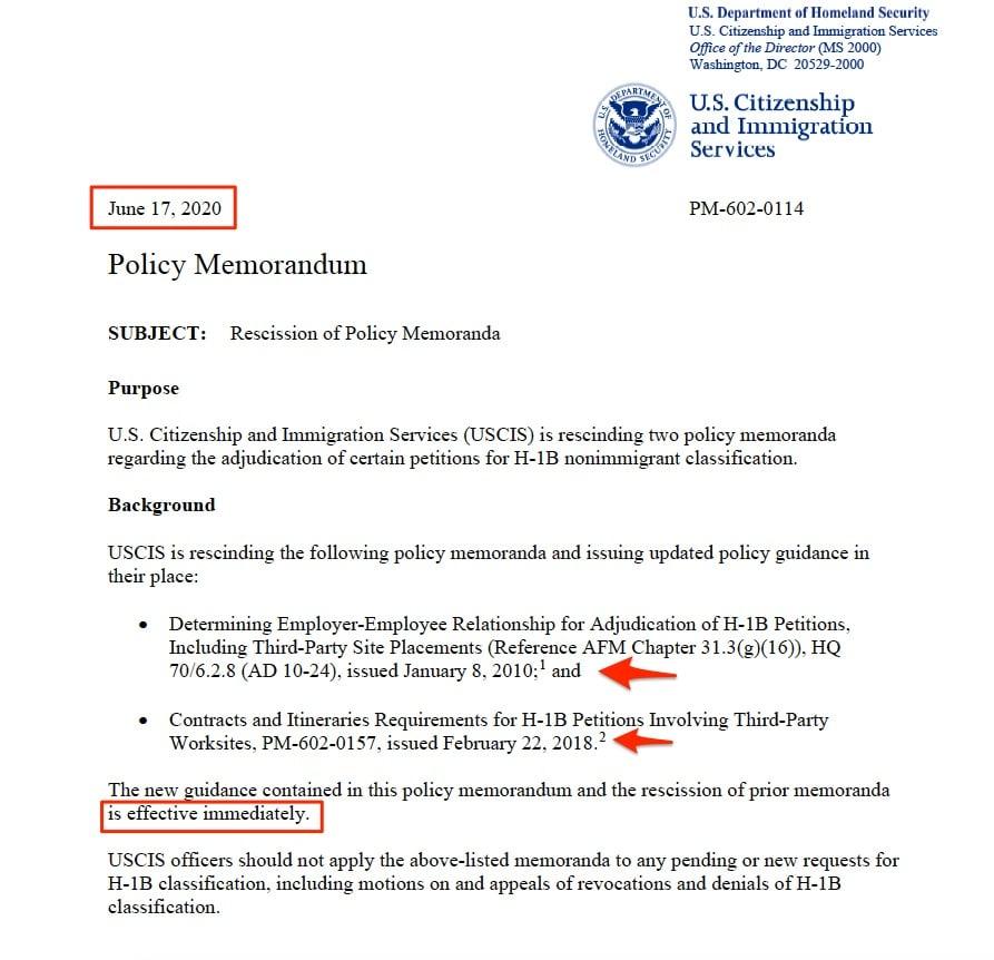 USCIS cancels two h1b visa memos ITServe