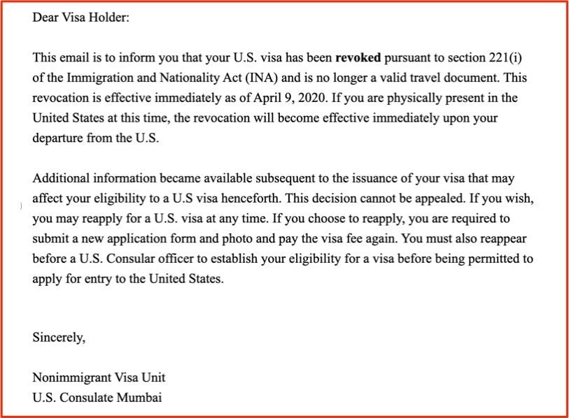 usa visa revoked 221i not valid for travel