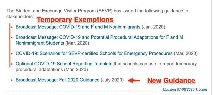 f1 visa exemptions covid-19