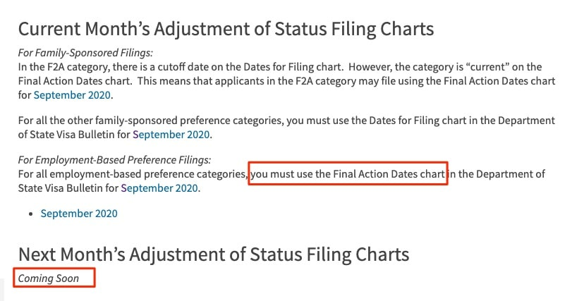 Adjustment of Status Filing Charts from the Visa Bulletin